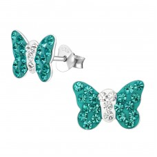 Butterfly - 925 Sterling Silver Crystal Ear Studs A4S2256