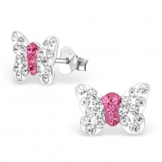 Butterfly - 925 Sterling Silver Crystal Ear Studs A4S2258