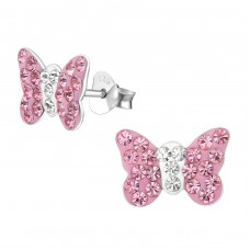 Butterfly - 925 Sterling Silver Crystal Ear Studs A4S2260