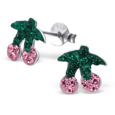 Cherry - 925 Sterling Silver Crystal Ear Studs A4S2262
