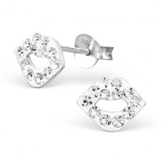 Mouth - 925 Sterling Silver Crystal Ear Studs A4S2285