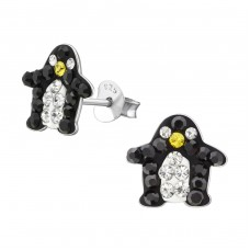 Black And White Penguin - 925 Sterling Silver Crystal Ear Studs A4S2286