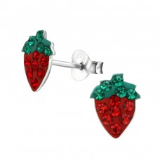 Strawberry - 925 Sterling Silver Crystal Ear Studs A4S2290