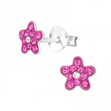 Flower - 925 Sterling Silver Crystal Ear Studs A4S22935