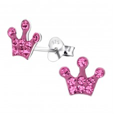 Crown - 925 Sterling Silver Crystal Ear Studs A4S22952