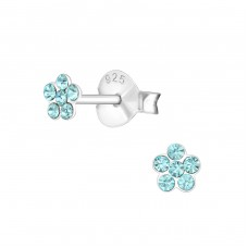 Flower - 925 Sterling Silver Crystal Ear Studs A4S23041