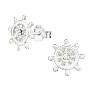 Ship's Wheel - 925 Sterling Silver Ear studs with crystals A4S23296
