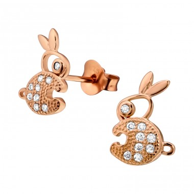 Rabbit - 925 Sterling Silver Ear studs with crystals A4S23559