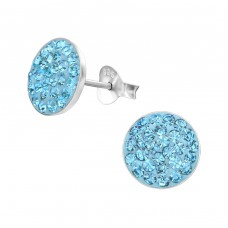 Round - 925 Sterling Silver Crystal Ear Studs A4S2375