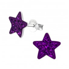 Star - 925 Sterling Silver Crystal Ear Studs A4S2388