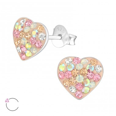Heart - 925 Sterling Silver Ear studs with crystals A4S23934