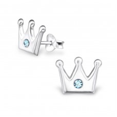 Crown - 925 Sterling Silver Crystal Ear Studs A4S24652