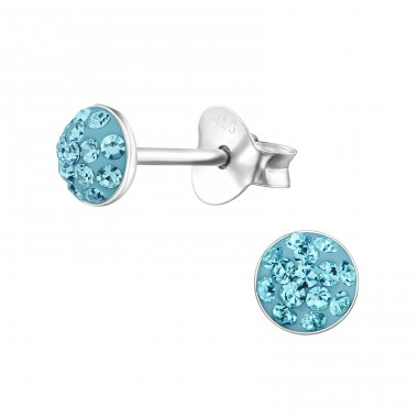 Round - 925 Sterling Silver Crystal Ear Studs A4S24654