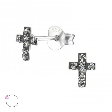 Cross - 925 Sterling Silver Ear studs with crystals A4S24681