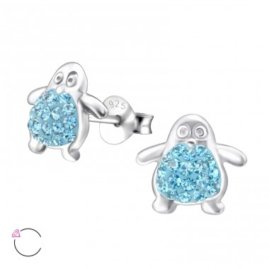 Penguin - 925 Sterling Silver Crystal Ear Studs A4S24685