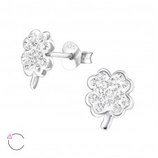 Shamrock - 925 Sterling Silver Crystal Ear Studs A4S24691