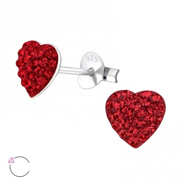 Heart - 925 Sterling Silver Ear studs with crystals A4S24693