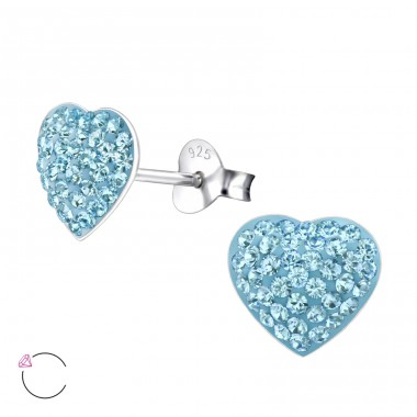 Heart - 925 Sterling Silver Ear studs with crystals A4S24694