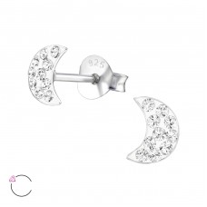 Moon - 925 Sterling Silver Crystal Ear Studs A4S24696
