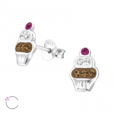Cupcake - 925 Sterling Silver Ear studs with crystals A4S24699