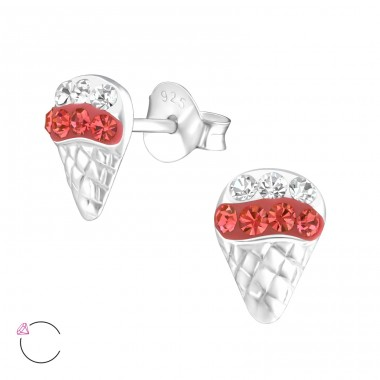 Ice Cream - 925 Sterling Silver Ear studs with crystals A4S24700