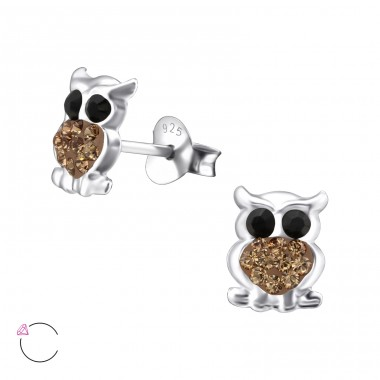 Owl - 925 Sterling Silver Crystal Ear Studs A4S24708