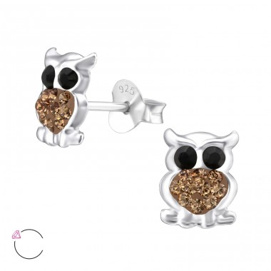 Owl - 925 Sterling Silver Ear studs with crystals A4S24708