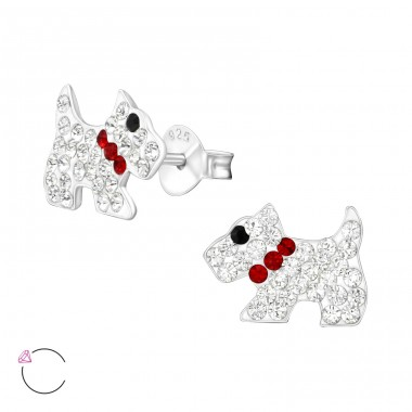 Dog - 925 Sterling Silver Ear studs with crystals A4S24709