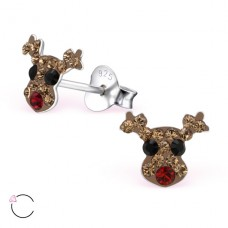 Deer - 925 Sterling Silver Crystal Ear Studs A4S24710