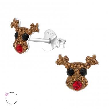 Deer - 925 Sterling Silver Ear studs with crystals A4S24710