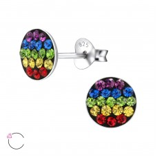 Round - 925 Sterling Silver Crystal Ear Studs A4S24717