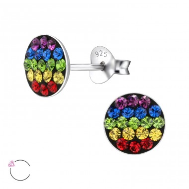 Round - 925 Sterling Silver Ear studs with crystals A4S24717