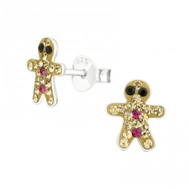 Gingerbread Man - 925 Sterling Silver Ear studs with crystals A4S25104