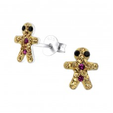 Gingerbread Man - 925 Sterling Silver Crystal Ear Studs A4S25104