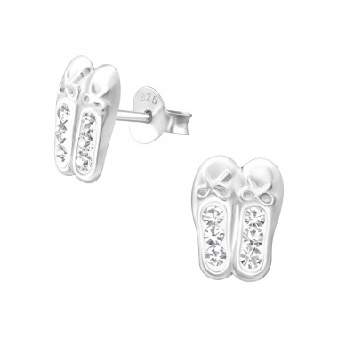 Ballerina Shoes - 925 Sterling Silver Crystal Ear Studs A4S25105