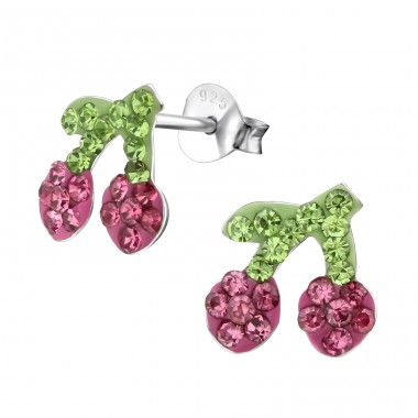 Cherry - 925 Sterling Silver Crystal Ear Studs A4S25417