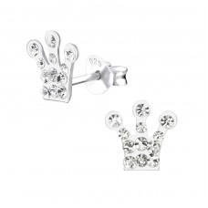Crown - 925 Sterling Silver Crystal Ear Studs A4S25426