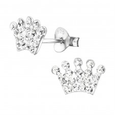 Crown - 925 Sterling Silver Crystal Ear Studs A4S25427
