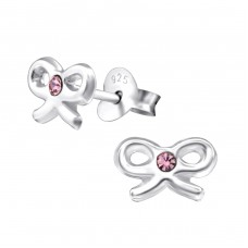 Bow - 925 Sterling Silver Crystal Ear Studs A4S26233