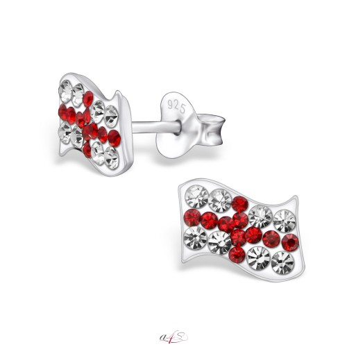England Flag Earrings - Sterling Silver TRche