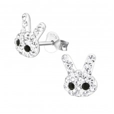 Rabbit - 925 Sterling Silver Crystal Ear Studs A4S26511