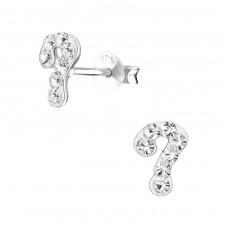 Question Sign - 925 Sterling Silver Crystal Ear Studs A4S27357