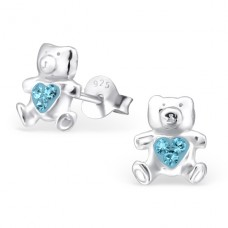 Bear - 925 Sterling Silver Crystal Ear Studs A4S2825