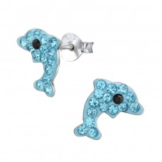 Dolphin - 925 Sterling Silver Crystal Ear Studs A4S2896