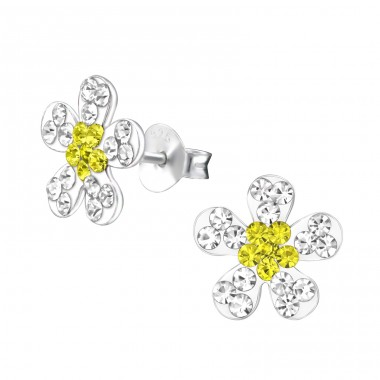 Flower - 925 Sterling Silver Crystal Ear Studs A4S29615