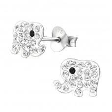 Elephant - 925 Sterling Silver Crystal Ear Studs A4S30265