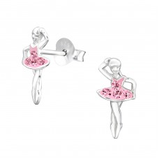Ballerina - 925 Sterling Silver Crystal Ear Studs A4S31403