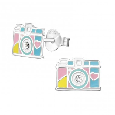Camera - 925 Sterling Silver Crystal Ear Studs A4S31967