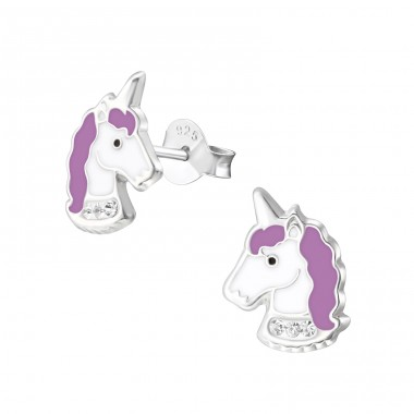 Unicorn - 925 Sterling Silver Crystal Ear Studs A4S32011
