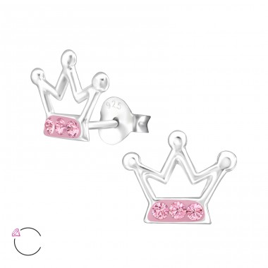 Crown - 925 Sterling Silver Crystal Ear Studs A4S32773